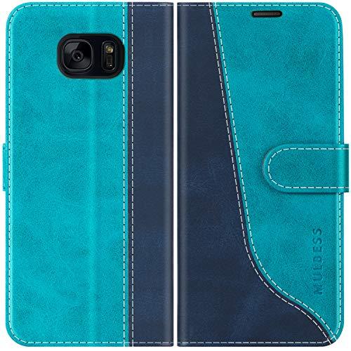 Mulbess Handyhülle für Samsung Galaxy S7 Hülle Leder, Samsung Galaxy S7 Handy Hüllen, Modisch Flip Handytasche Schutzhülle für Samsung Galaxy S7, Mint Blau