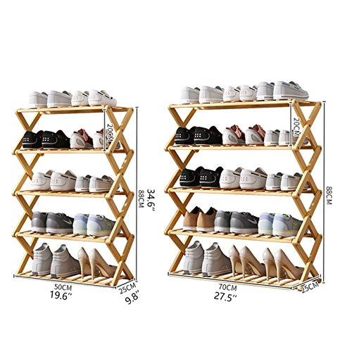 Zapatero plegable de bambú de 5 niveles, instalación gratuita, simple estante económico para zapatos, puerta de dormitorio (tamaño: 50 x 25 x 88 cm)