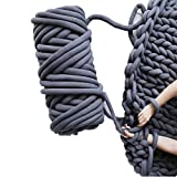 Chunky Yarn Giant Yarn Giant Wool Yarn 65yds Super Soft Washable Arm Yarn Super Chunky Extreme Bulky for Arm Knitting DIY Throw Sofa Bed Blanket Pillow Pet Bed and Bed Fence (1kg (2.2lbs), Dark grey)