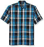 Dickies Men's Yarn Dyed Short Sleeve Camp Shirt, Blue/Black Plai, Small