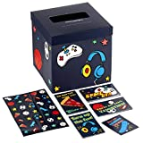 Hallmark Boys' Valentines Day Cards for Kids and Mailbox for Classroom Exchange, Games and Sports (1 Box, 32 Valentine Cards, 35 Stickers, 1 Teacher Card)