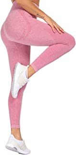 Jenbou Workout Leggings for Women Seamless Yoga Pants Butt Lifting High Waisted Tummy Control Compression Tights