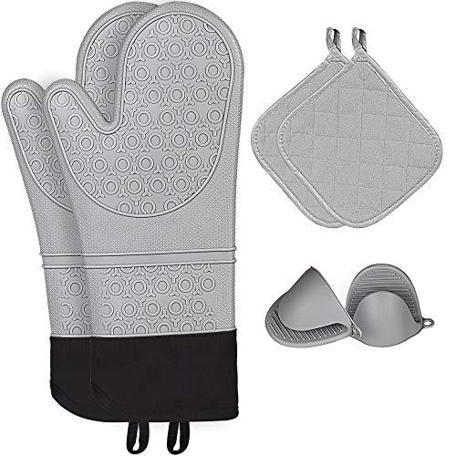 KIYA Topfhandschuhe 6er-Set, 2 Extra Lange Silikonofenhandschuhe & 2 Mini Silikonhandschuhe & 2 Baumwolle Topflappen - Hitzebeständig, Wasserfest, leicht zu reinigen (grau)