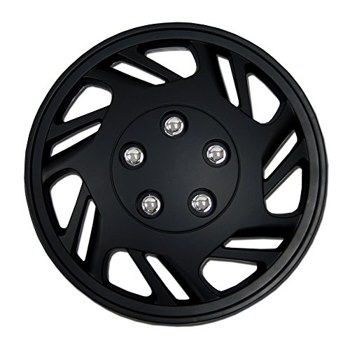 TuningPros WSC-126B15 - Pack of 4 Hubcaps - 15-Inches Style Snap-On (Pop-On) Type Matte Black Wheel Covers Hub-caps