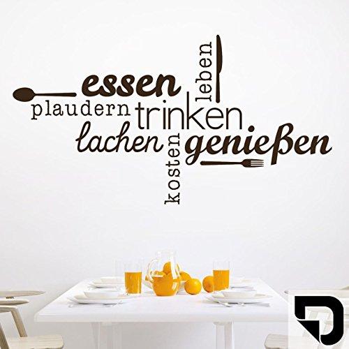 DESIGNSCAPE® Wandtattoo Essen Trinken Genießen | Wandtattoo Küche Esszimmer 60 x 32 cm (Breite x Höhe) schwarz DW803463-S-F4