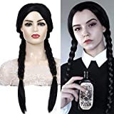 FVCENT 28' Long Straight Middle Part Heat Resistant Women Halloween Wednesday Addams Wig (Black)