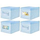mDesign Juego de 4 Cajas de Tela de Lunares – Caja de almacenaje con Tapa abatible para habitación Infantil – Organizador Infantil apilable de Fibra sintética Transpirable – Azul Claro/Blanco