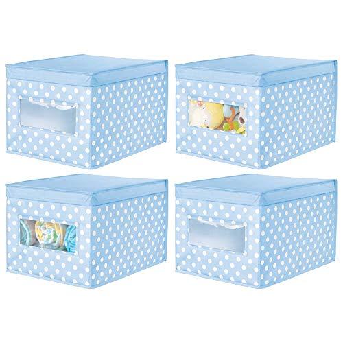 mDesign Juego de 4 Cajas de Tela de Lunares – Caja de almacenaje con Tapa abatible para habitación Infantil – Organizador Infantil apilable de Fibra sintética Transpirable – Azul Claro Blanco