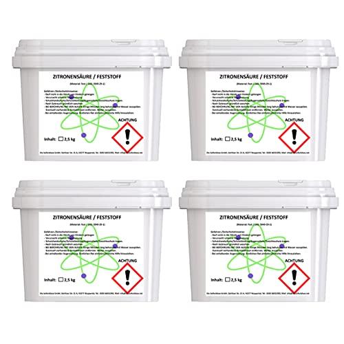 Cleanerist 4 x 2,5 kg, ácido cítrico, calidad alimentaria E330, vegano, para descalcificar y limpiar