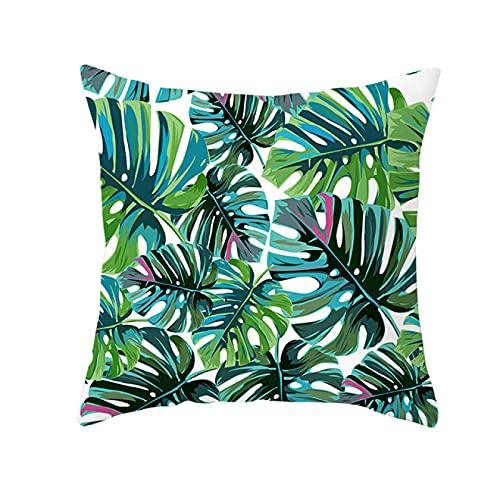 BANIKOP Funda de Almohada Decorativa de Plantas Tropicales de Verano, Funda de Almohada con Estampado de Hojas Verdes, Funda de Almohada con Estampado de poliéster