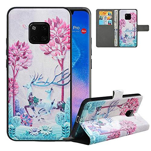 Kompatibel mit Huawei Mate 20 Pro Handyhülle,Premium PU Leder Hülle für Huawei Mate 20 Pro,[RFID-Blocker] Flip Hülle Brieftasche Etui Schutzhülle für Huawei Mate 20 Pro Cover,Deer