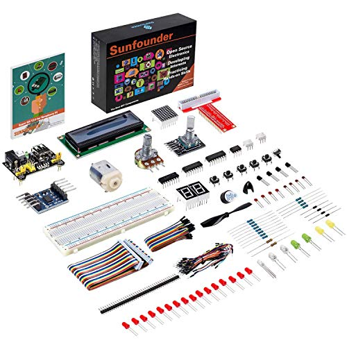 SUNFOUNDER Raspberry Pi Starter Kit Project for RPi 400 4B 3B+ 3B 2B B+ A+ Zero Including GPIO Breakout Board Breadboard LCD DC Motor LED RGB Dot Matrix (mit Deutscher Anleitung) (MEHRWEG)