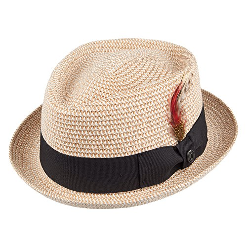 Jaxon & James Chapeau Pork Pie Diamond Crown en Paille Toyo Tressée Naturel Medium