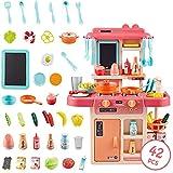 YUELAI Cocina Infantil con Luz Y Sonido,42 Juegos De Accesorios De Utensilios De Cocina Divertidos con Aerosoles Simulados, Juguetes De Cocina Simulados(Pink)