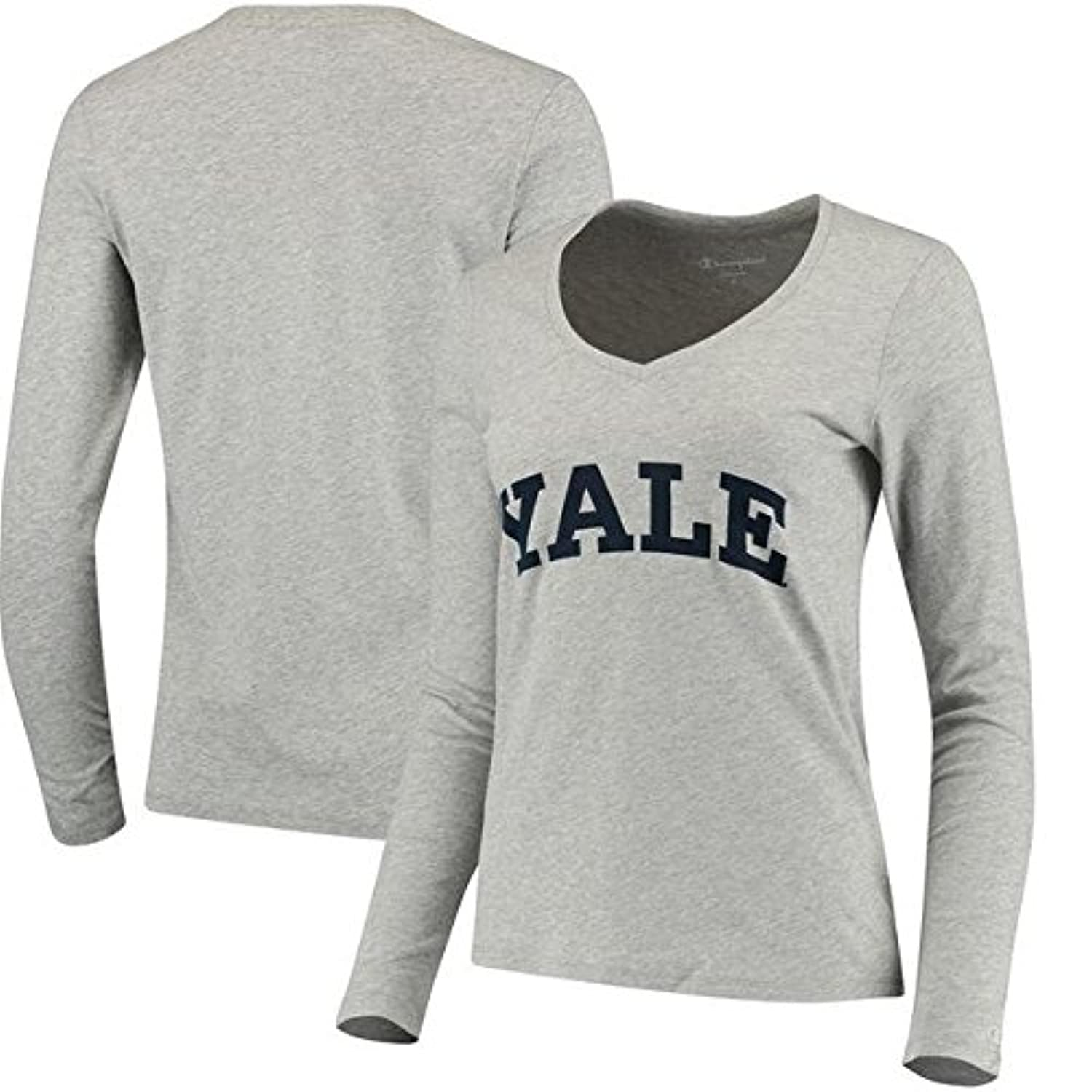 Champion Champion Yale Bulldogs Women's Heathered Gray Basic Arch V-Neck Long Sleeve T-Shirt スポーツ用品 【並行輸入品】