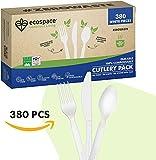 Ecospace Set de Cubiertos Desechables Reutilizables - Tenedores, Cuchillos y Cucharas de Plástico 100% Ecológico Biodegradable y Compostable - Utensilios Para Fiesta o Camping   CPLA   380 Piezas