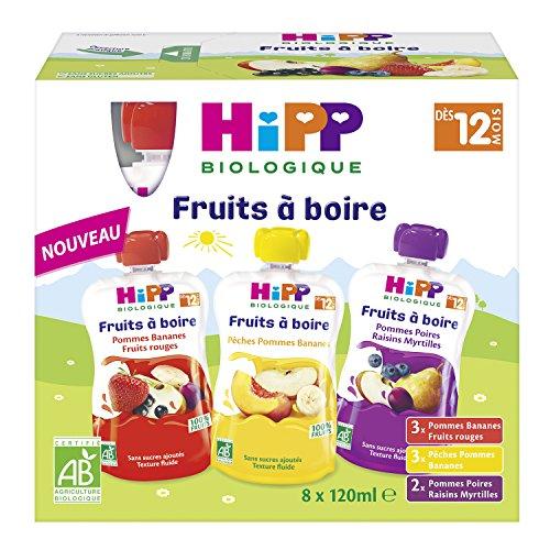Hipp Biologique Gourdes Multipack Fruits à Boire 3 Variétés dès 12 Mois, (Lot de 4 caisses de 8 gourdes = 32 gourdes)