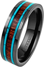 Personalized Engraved Hi-Tech 6mm/8mm Gunmetal Black Flat Ceramic Band Style Ring w/Koa Wood Inlay Between 2 Blue Turquoise Inlays feat. Comfort Fit.