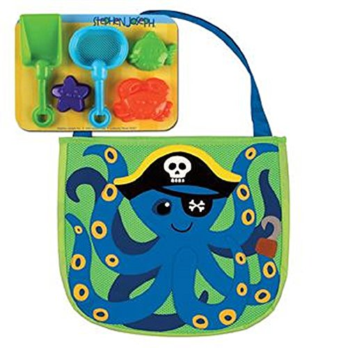 Strandtasche Octopus Tintenfisch Pirat Kindergartentasche mit Förmchen für den Strand oder Sandkasten