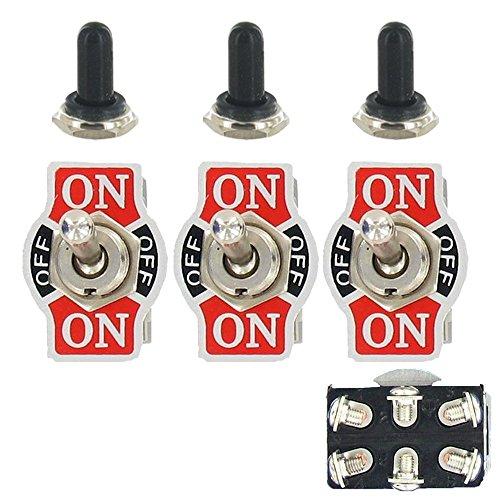 E Support™ 3 X 20A 125V 15A 250V Kippschalter Schalter Wippschalter DPDT 6-Polig EIN/AUS/EIN Metall Mit wasserdicht Schutzkappe