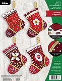 Bucilla, Holiday Elegance, Felt Applique Ornament Kit, Set of 4