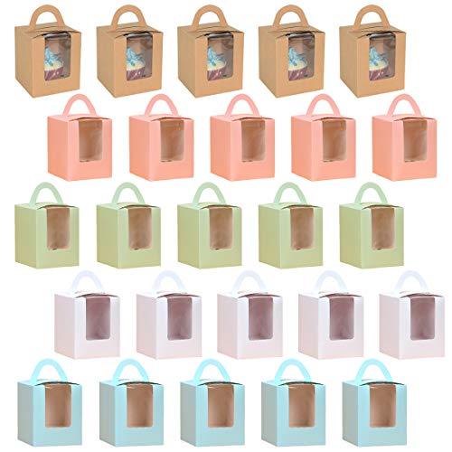 YuChiSX 25 Piezas Cajas de Cupcakes para Regalo, Caja Pasteleria, Cajas para Pasteles con Ventana de Pet Transparente y Manija, Accesorio para Repostería para Cumpleaños Boda Fiesta Comunion Navidad