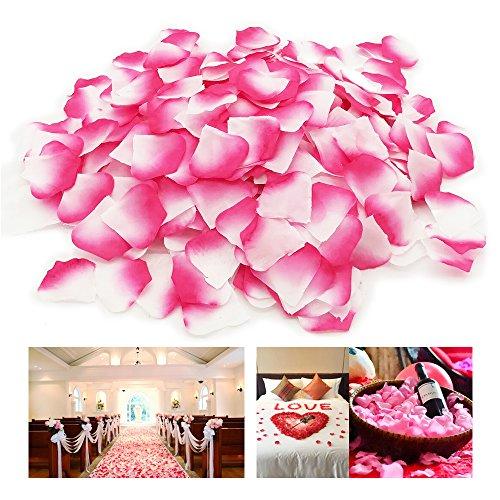 Doutop Rosenblätter 1000 Stück Rosenblüten Künstliche Seiden Blumenblätter Seidenblumen Streudeko für Hochzeit Party Valentinstag Heiratsantrag Streublumen Tischdeko