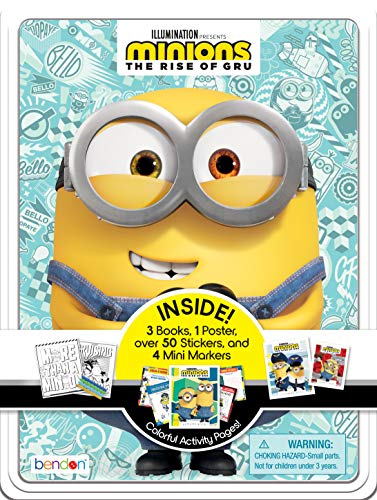 Despicable Me Minions Rise of Gru Activity Tin with Coloring Book, Stickers, Markers, and Poster AS47657