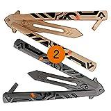 Phuyu Lot de 2 outils à Papillon balisong en Acier...
