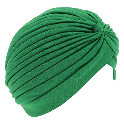 JUSTFOX JUSTFOX - Damen Turban Kopfbedeckung Fashion Einfarbig Grün