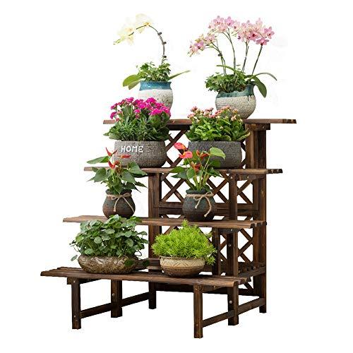 HLR-Plant Stands Bloem Pot Houder Plant Stand Plank Anticorrosief hout Multi-layer indoor Landing ladder Decoratief frame