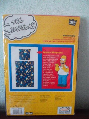 The Simpsons - Juego de cama (funda nórdica de 140 x 200 cm y funda de almohada de 65 x 65 cm, 100% poliéster)
