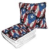 Vintage Puerto Rico Flag Travel Blanket and Pillow Set Premium Soft Naptime Throw Blanket Reversible Flannel Sofa Cushion with Pillow Winter Office Noon Break Blanket for Men Women Teens