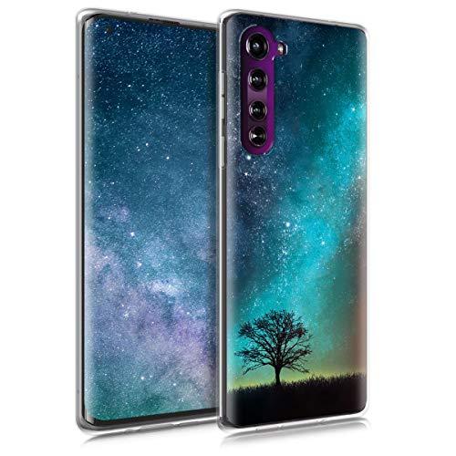 kwmobile Hülle kompatibel mit Motorola Edge (2020) - Handyhülle - Handy Hülle Galaxie Baum Wiese Blau Grau Schwarz