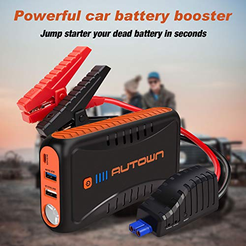 AUTOWN Jump Starter, 10000mAh Car Jump Starter with Quick Charger, Portable Battery Booster 12V Auto Power Pack with LED Flashlight, Smart Jumper Cables