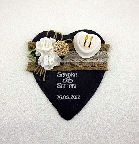 Ringkissen Schiefer Ringhalter Hochzeit Beschriftung Herz Eheringe