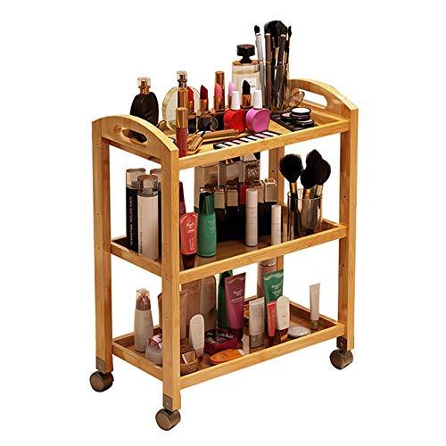 Portable Cart - GR/Carro de usos múltiples de 3 estantes for salón de Belleza con Ruedas, Carro móvil de Madera Maciza for Servir (Color : Natural, Size : 70×32×73cm)