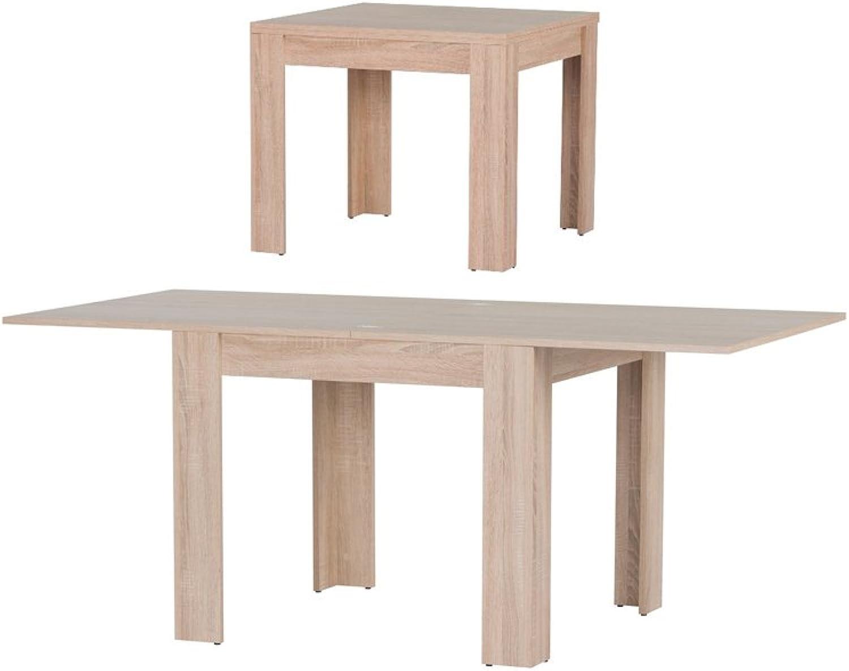 MPS praktisch Tisch Saturn 90-180x77x90 cm Küchentisch Esszimmertisch Esstisch Wohnzimmer Quadrat-Tisch 90x90 4 Tischfüe Ausziehtisch ausziehbarer Tisch modern
