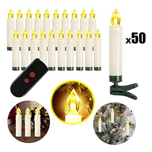 Weihnachtskerzen 10/20/30/40/50/60/100 Sets OZAVO, kabellose Mini LED Kerzen, Christbaumkerzen mit Fernbedienung, Weihnachtsbaumbeleuchtung 2 Lichtmodifikationen, Weihnachten (50 Sets)