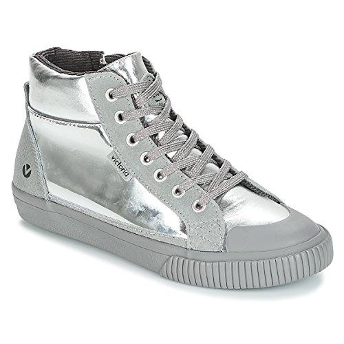 victoria Bota Metalizada Cremalera Sneaker Madchen Silbern - 31 - Sneaker High Shoes