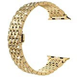 Wearlizer Bling Compatible with Apple Band 42mm 44mm Crystal Rhinestone Diamond for iWatch Luxury Stainless Steel Strap Wristband Replacement Bracelet (Metal Buckle) Series 5 4 3 2 1-Normal