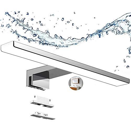 Aogled Lámpara de Espejo Baño 40 cm 10W 820LM 230V Blanco Frío 6000K,Acero inoxidable IP44 Clase II Lámpara de espejo de baño delgada,Abrazadera en el Espejo/Gabinete/Iluminación de Pared 400 mm