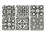 2' x 2' Whimsical Spanish Pattern Decorative Porcelain Tiles (Set of 6)