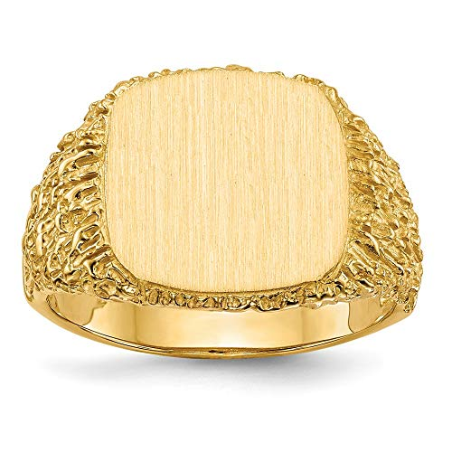 14k Yellow Gold 13.5x13.5mm Mens Signet Band Ring Size 10.00 Man Fine Jewellery For Dad Mens Gifts For Him
