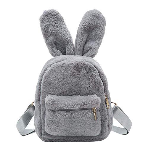 Damen Kunstfell-Mini-Rucksack, niedliche Hasenohren, Schultertasche, Geldbörse, Plüsch Grau grau 9.84