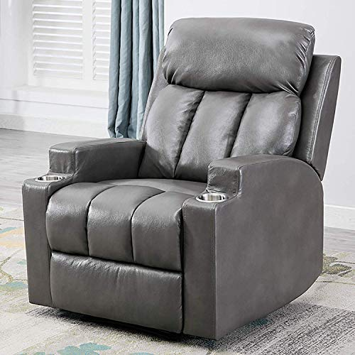 ANJ Breathable PU Leather Recliner Chair with 2 Cup Holders...