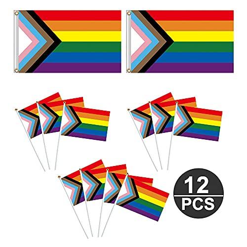 MOPOIN Bandera Arcoíris, 6 Pride Flag para Decoración de Jardín, Pancarta Bandera del Orgullo del Progreso, Bandera LGBT Resistente a Los Rayos Ultravioleta Duradera