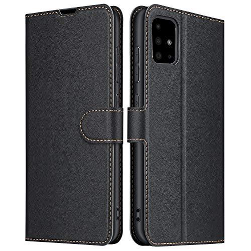 ELESNOW Funda Samsung Galaxy A51, Cuero Premium Flip Folio Carcasa Case para Samsung Galaxy A51 (Negro)