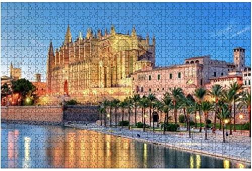 1000 piezas-Catedral de Palma de Mallorca España Rompecabezas de madera DIY Niños Rompecabezas educativos Regalo de descompresión para adultos Juegos creativos Juguetes Rompecabezas Decoración para e