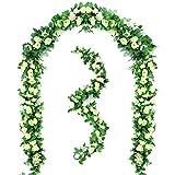 Peoxio 2 Stücke 6,5 FT Künstliche Blumen Rose Reben Hßngen Rose Ivy Hochzeit Girlande Grün Home Hotel Büro Party Garten Handwerk Künst Decor(Weiß)